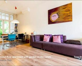 Kamer in Amsterdam, Bilderdijkkade op Kamernet.nl: appartement met tuin aan kade